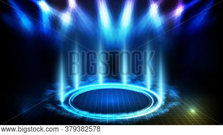 Abstract Futuristic Background Of Blue Empty Stage And Circle Neon Lighting Stage With Smoke Backgro