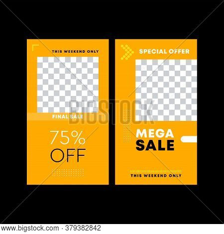 Yellow Poster. Final Sale Poster Or Flyer Design. Modern Promotion Square Web Banner, Email Ad Newsl