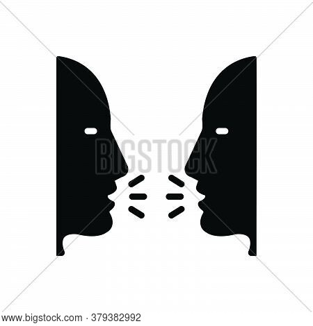 Black Solid Icon For Talk Gossip Conversation Discussion Consultation Confabulation Speak
