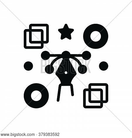 Black Solid Icon For Graphic Concrete Stirring Striking Creative Sketch Curve Element