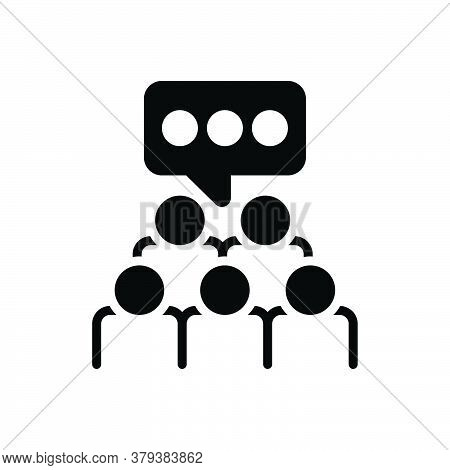 Black Solid Icon For Focus-group Focus Group Survey Audience Crowd Audience Management Cooperation E