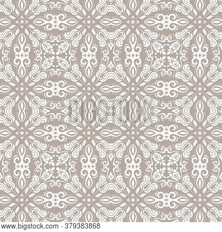 Classic Seamless Vector White Pattern. Damask Orient Ornament. Classic Vintage Background. Orient Be