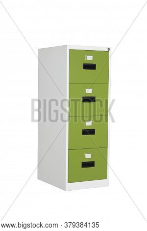 Steel Drawers Office Furniture Isolated On White Background. Cabinet With Drawers For Business Files