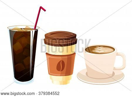 Set Drinks. Glass Of Cola And Coffee. Isolated On White Background. Vector Flat Color Icon. For Post