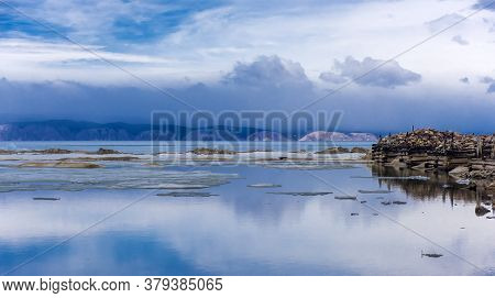 Baikal, Olkhon. Remains Of The Pier Of The Fish Factory At The Peschanoye Tract (located 20 Km To Th