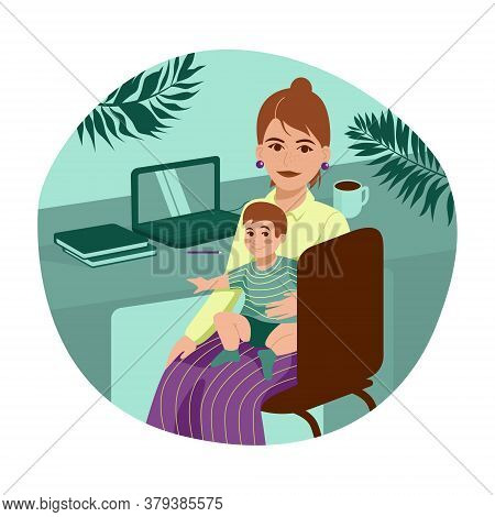 Working On Maternity Leave With Baby In Her Arms. Woman Working Online On Laptop From Home. Vector F