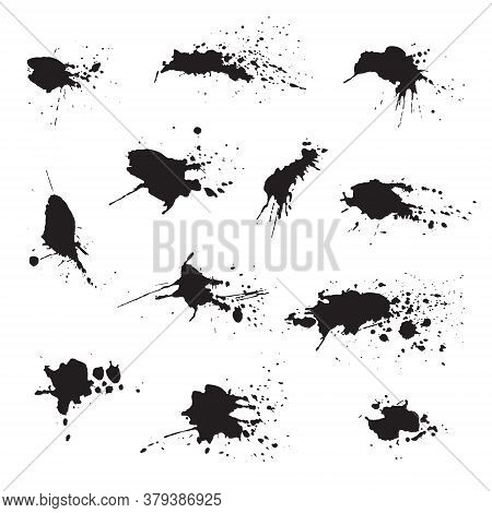 Set Of Dark Black Watercolor Ink Blots, Splashes, Spray Texture Isolated On White Background. Collec