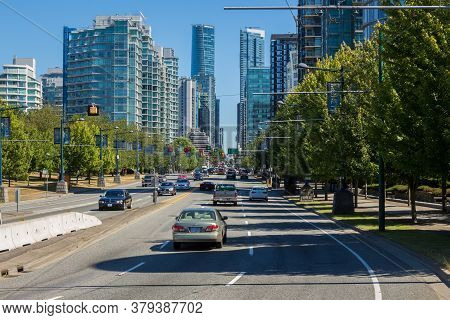 Vancouver, Canada - July 27th 2017: View Down Highway 99 And West George Street At The Entrance To V