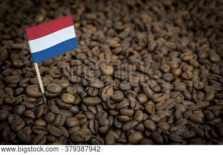 Netherlands Flag Sticking In Roasted Coffee Beans. The Concept Of Export And Import Of Coffee