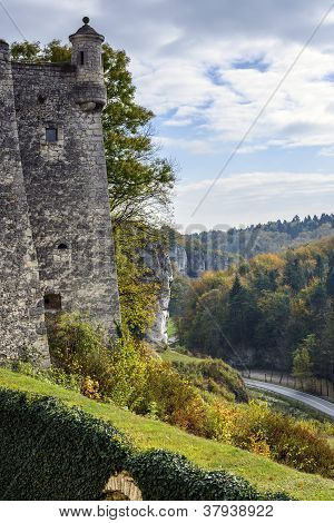 Tower Of Pieskowa Skala Castle With Autumn Landscape