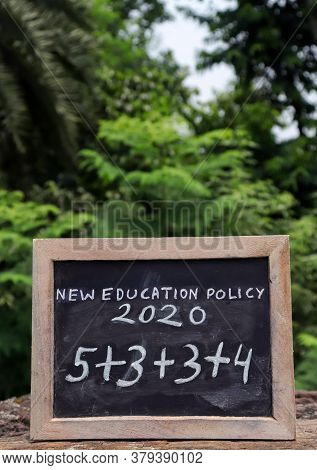New Education Policy 2020 & Its Structure Written On Chalkboard, India's New Education Policy In Ver