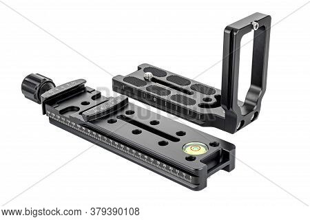 Dslr Camera L-bracket With Quick Release Nodal Slide Rail Isolated On White Background. Panoramic Sh