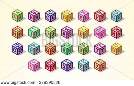 Multicolored Alphabet Or Abc Kid Blocks Latin Font In Isometric Style, From A To Z