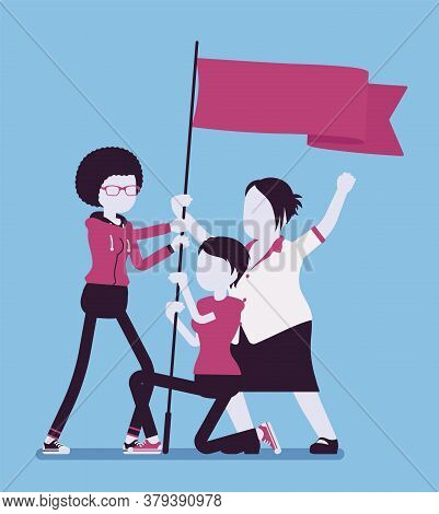Feminist Movement, Female Group With Flag Protest, Victory Symbol. Women Active Gathering, Political