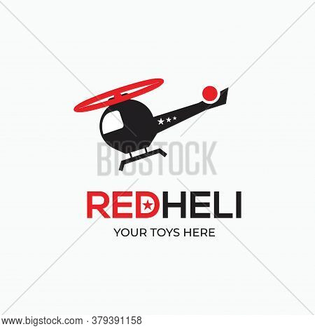 Simple Flat Helicopter - Toy Icon - Red Helicopter Logo Concept