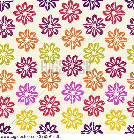 Modern Seamless Vector Botanical Pattern With Seasonal Spring Flowers Chicory Or Cornflower In Purpl