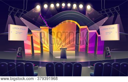 Stage With Tribune, Bright Decoration And Spotlights. Vector Cartoon Illustration Of Empty Scene For
