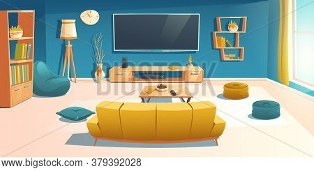 Living Room Interior With Sofa, Tv, Bookshelf And Coffee Table. Apartment With Couch Front Of Televi