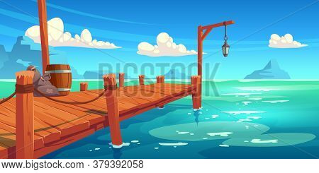 Wooden Pier On River, Lake Or Sea Landscape, Wharf With Ropes, Lantern, Wood Barrel And Sacks On Pic