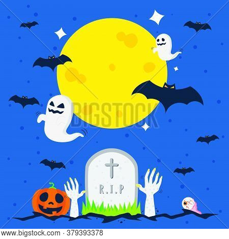 Creepy And Scary Halloween Theme Vector Design, Can Be Use To Make Poster