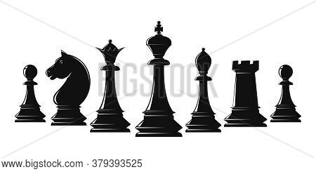 Set Of Black Chess Pieces. Chess Piece Icons. Board Game. Vector Illustration Isolated On White
