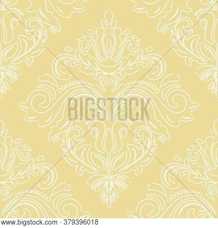 Orient Vector Classic Yellow And White Dotted Pattern. Seamless Abstract Background With Vintage Ele