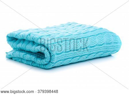 Folded Knitted Mint Green Blanket On White Background Isolation, Top View