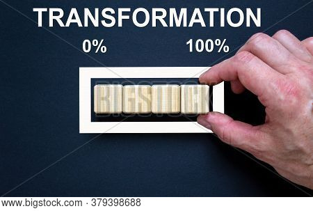 Transformation Business Concept With Progress Bar. Male Hand. Beautiful Black Background.