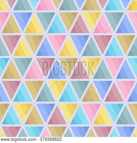 Graphic Seamless Pattern Of Triangular Geometric Elements Of Blue, Brown, Pink, Yellow, Grey Pastel