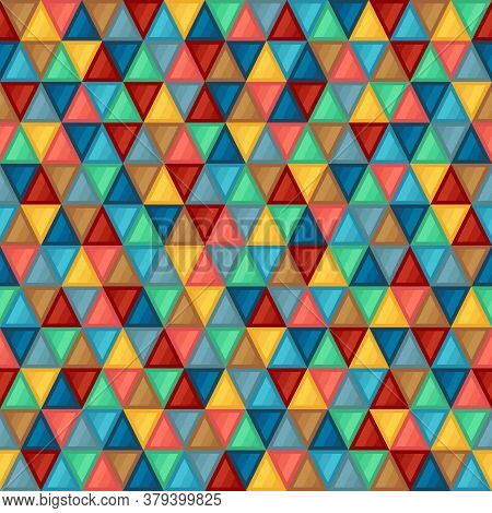 Geometric Seamless Pattern Of Triangles Of Blue, Brown, Coral, Green, Grey, Turquoise, Yellow Colors