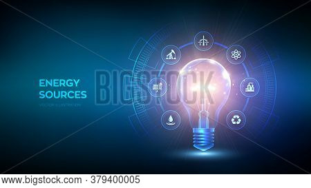 Glowing Light Bulb With Energy Resources Icon. Electricity And Energy Saving Concept. Energy Sources