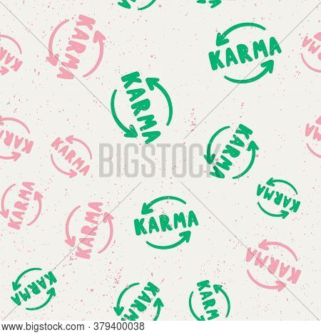 Karma. Vector Seamless Pattern With Calligraphy Hand Drawn Text. Good For Wrapping Paper, Wedding Ca