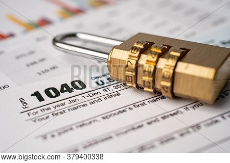 Tax Return Form 1040 And Golden Security Digital Password Lock Key, U.s. Individual Income.