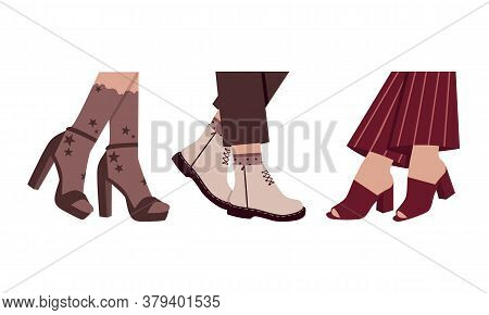 Set Of Trendy Women Shoes In Brown Color. Casual Footwear Boots. Isolated Vector Elements