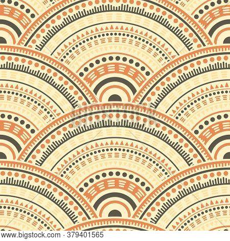 Moroccan Concentric Elements Tile Design Vector Seamless Pattern. Tribal Motifs Wavy Line Art Geomet