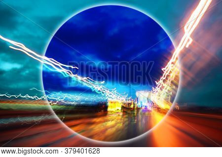 Modern Art Collage With Evening Expressway Blurred View. Lights Night Road With Motion Blur Effect I