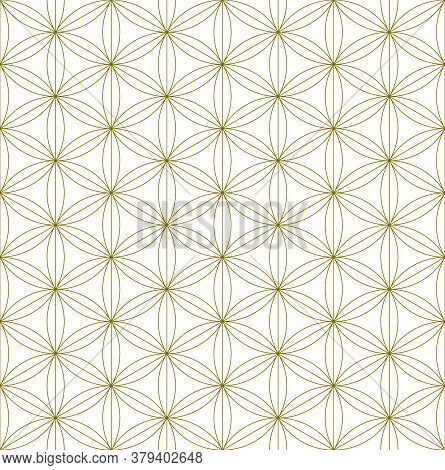Japanese Seamless Kumiko Pattern In Golden Silhouette With Fine Lines.