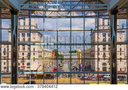 Minsk, Belarus, July 26, 2020: Gates Of Minsk Two Tall Towers Socialist Classicism Stalin Empire Sty