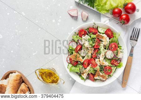 Delicious Vegetarian Fattoush Or Arab Salad With Pita Bread, Fresh Vegetables On Plate. Middle Easte