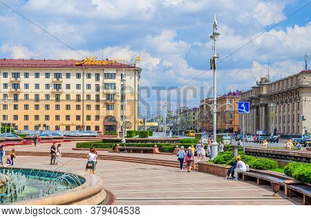Minsk, Belarus, July 26, 2020: Independence Square And Avenue With Socialist Classicism Stalin Empir