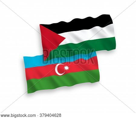 National Fabric Wave Flags Of Azerbaijan And Palestine Isolated On White Background. 1 To 2 Proporti