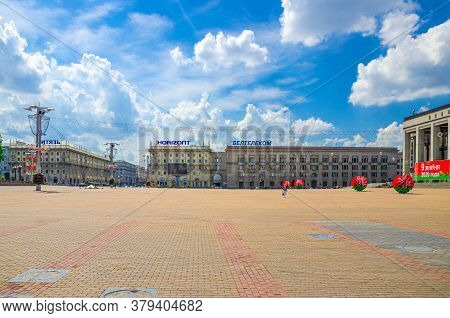 Minsk, Belarus, July 26, 2020: October Square With Socialist Classicism Stalin Empire Style Building
