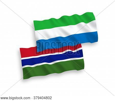 National Fabric Wave Flags Of Republic Of Gambia And Sierra Leone Isolated On White Background. 1 To