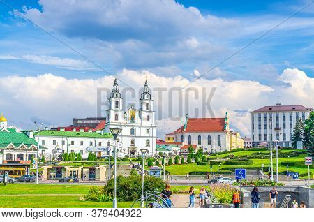 Minsk, Belarus, July 26, 2020: Upper Town With Holy Spirit Cathedral Orthodox Church Baroque Style B