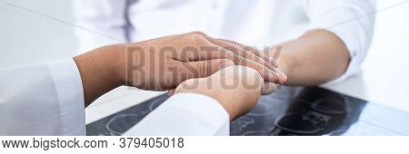 Image Of Doctor Holding Patient's Hand To Encourage, Talking With Patient Cheering And Support, Heal