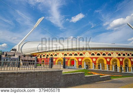 Minsk, Belarus, July 26, 2020: Dinamo National Olympic Stadium With Floodlight Pylons Lights Towers