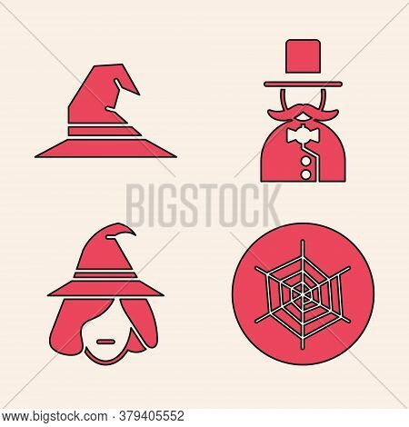 Set Spider Web, Witch Hat, Magician And Witch Icon. Vector