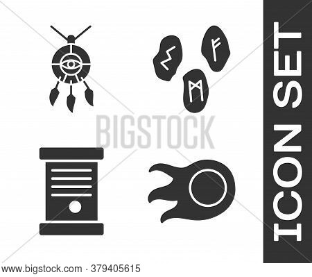 Set Fireball, Dream Catcher With Feathers, Decree, Paper, Parchment, Scroll And Magic Runes Icon. Ve