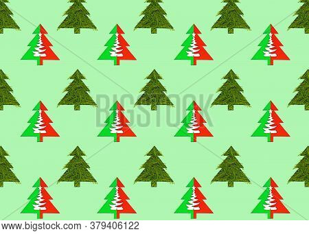 Seamless Pattern With Green Christmas Trees On A Green Background. Minimal Composition Pattern Backg
