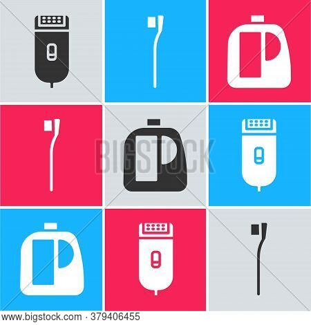 Set Electrical Hair Clipper Or Shaver, Toothbrush And Bottles For Cleaning Agent Icon. Vector
